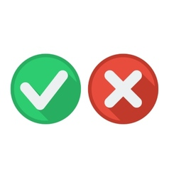 Delete and tick or check and cross marks vector
