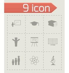 Black education icons set vector