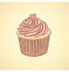 Sketch tasty cupcke in vintage style vector