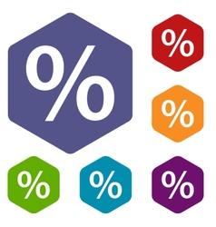 Percent rhombus icons vector