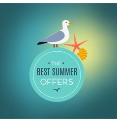 Seagull on the sign best summer offer vector