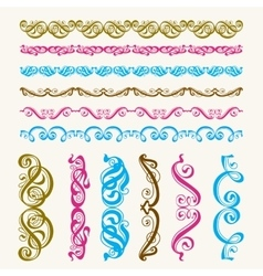 Set of perfect calligraphic brush vector