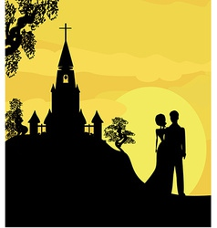 Sunshine church and wedding couple vector