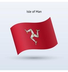 Isle of man flag waving form vector