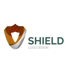 Secure shield logo design made of color pieces vector