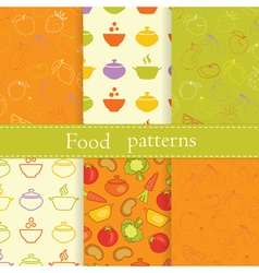 Set of food seamless patterns vector