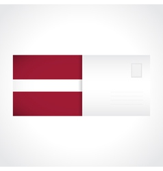 Envelope with latvian flag card vector