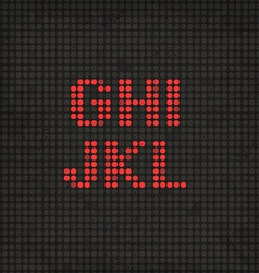 Led display scoreboard dot grunge font from g to l vector