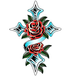 Religious cross and rose vector