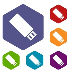 Flash drive rhombus icons vector