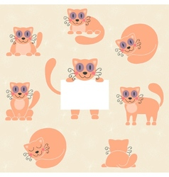 Cute red kitten set funny cat with sign vector