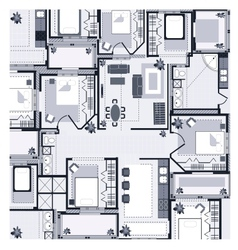 Grey house plan vector