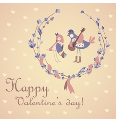 Cute pair of birds celebrating valentines day vector