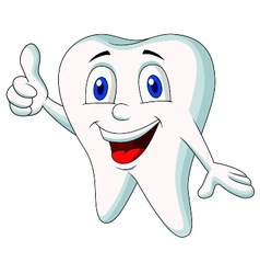Cute tooth cartoon thumb up vector