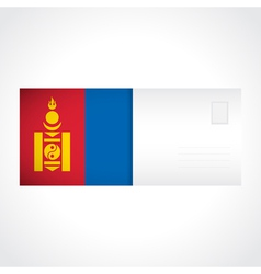 Envelope with mongolian flag card vector