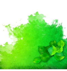 Watercolor spot with green leaves vector