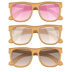Set of vintage glasses with wooden frame retro vector