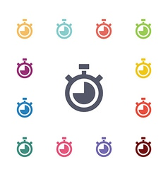 Timer flat icons set vector