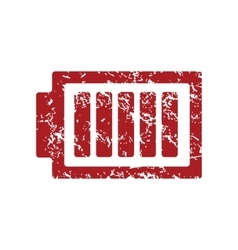 Charged battery red grunge icon vector