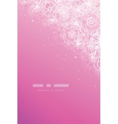 Pink magical flowers glowing vertical background vector