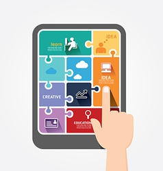 Infographic finger push tablet template jigsaw vector