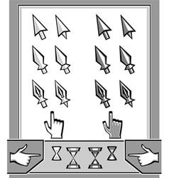 Set cursors icons arrow spear pen hand hourg vector