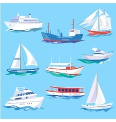 Set of sea ships water carriage and maritime vector