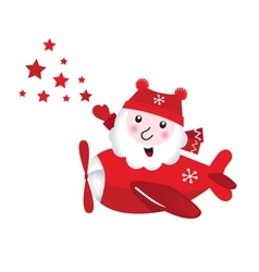 Cute flying santa touching christmas stars vector