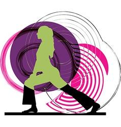Woman meditating and doing yoga vector
