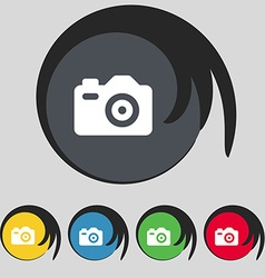 Photo camera icon sign symbol on five colored vector