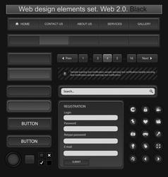 Web design elements set black vector