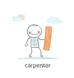 Carpenter holding board vector