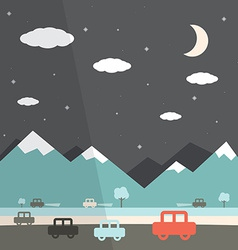 Night landscape flat design vector
