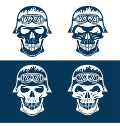 Skull in helmet set biker theme design template vector