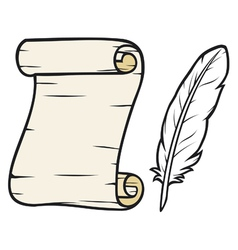 Feather and old paper vector