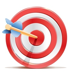 Red darts target aim and arrow vector