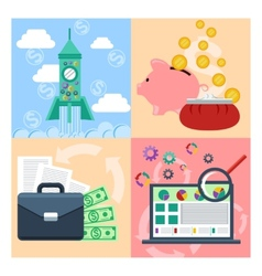 Set of concept for startup analytics finance vector