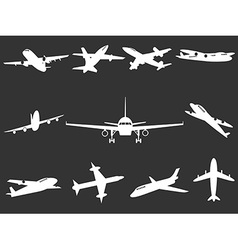 White airplane silhouettes vector