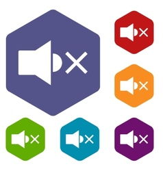 No sound rhombus icons vector
