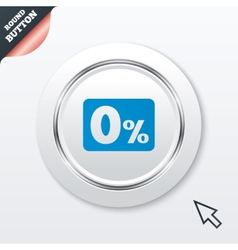 Zero percent sign icon zero credit symbol vector