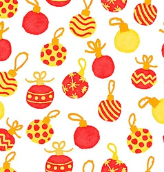 Seamless cute watercolor pattern with christmas vector