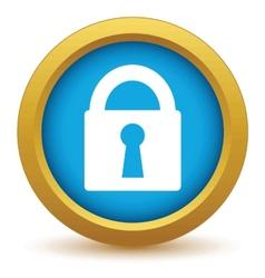 Gold lock icon vector