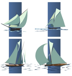 Simple group of ship with sails vector