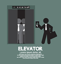 Businessman standing with crowded elevator vector