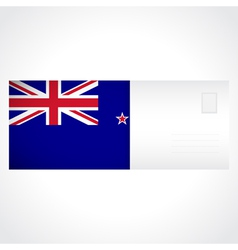 Envelope with flag of new zealand card vector
