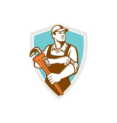 Plumber monkey wrench rolling sleeve shield retro vector