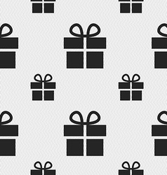 Gift box icon sign seamless pattern with geometric vector