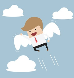 Businessman flying with wings vector
