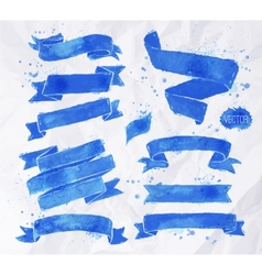 Watercolors ribbons blue vector