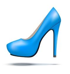 Blue bright modern high heels pump woman shoes vector